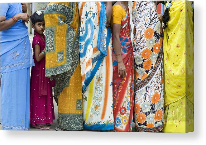 Indian Girl Canvas Print featuring the photograph In The Queue by Tim Gainey