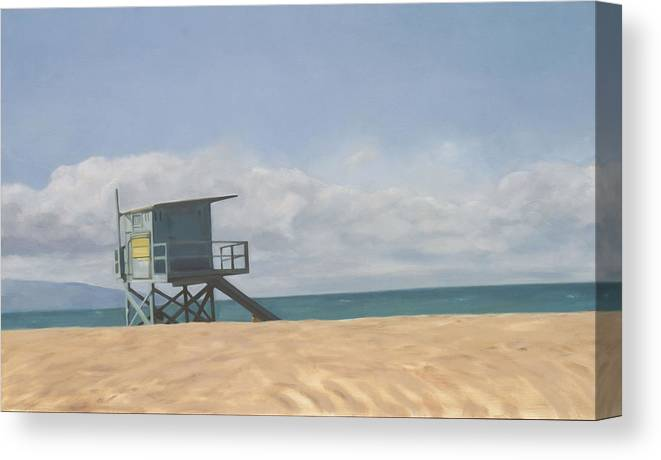 Beach Canvas Print featuring the painting Lifeguard Tower by Merle Keller