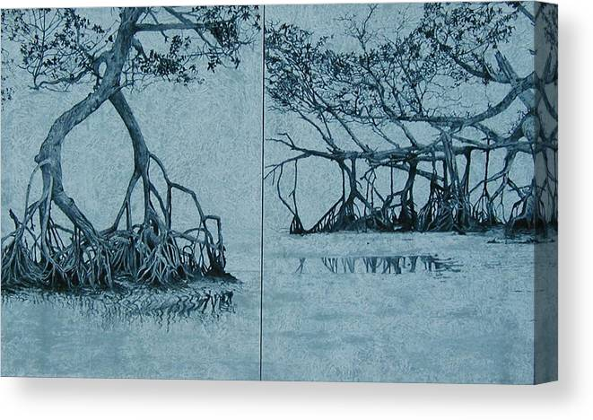 Blue Canvas Print featuring the painting Mangroves by Leah Tomaino