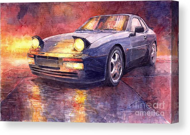 Auto Canvas Print featuring the painting Porsche 944 Turbo by Yuriy Shevchuk