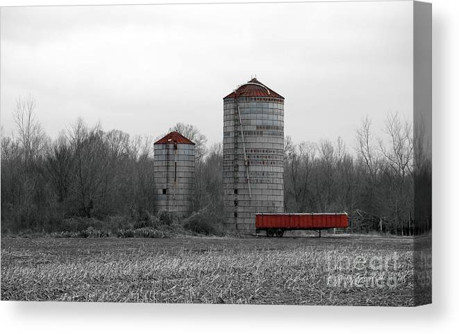 Silo Canvas Print featuring the photograph Red Silo by Amanda Barcon