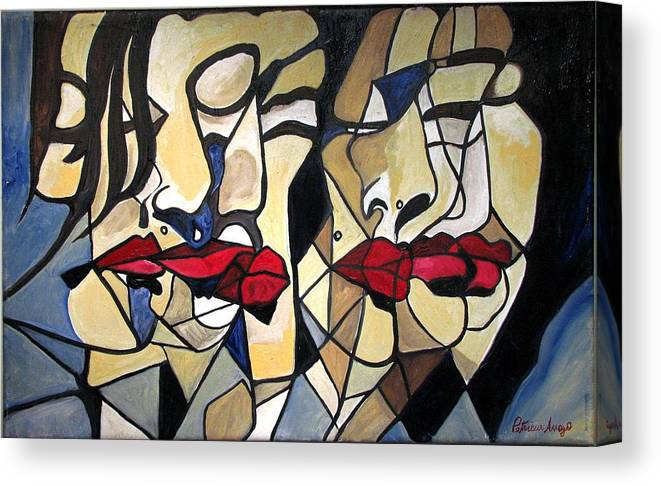 Abstract Canvas Print featuring the painting She Had Red Lips by Patricia Arroyo