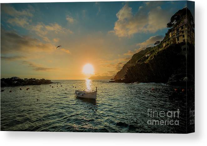 Travel Canvas Print featuring the photograph Sunset in Cinque Terre by Alex Dudley
