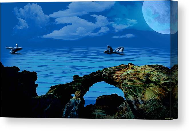 Ocean Canvas Print featuring the painting Whales Tales by Evelyn Patrick