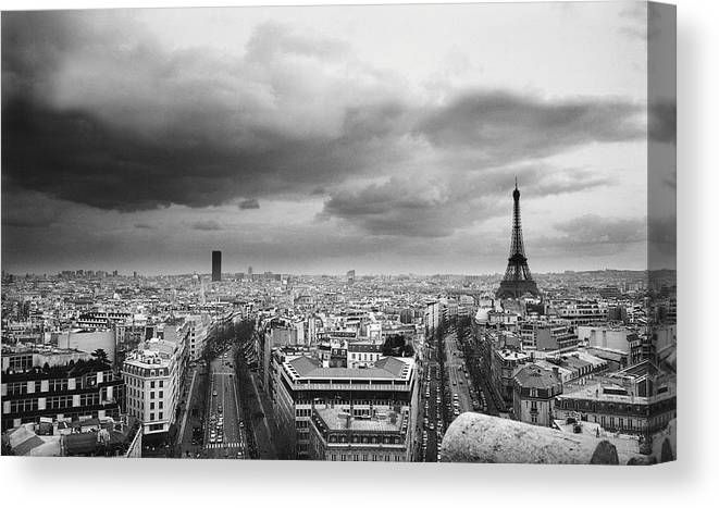 Black Color Canvas Print featuring the photograph Black And White Aerial View Of An by Stockbyte
