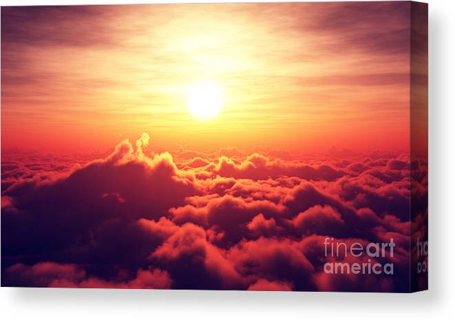 Sunrise Canvas Print featuring the digital art Golden Sunrise Above Puffy Clouds by Johan Swanepoel
