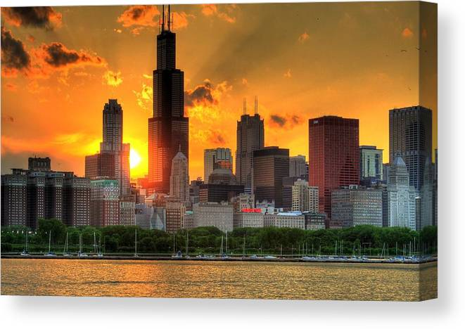 Tranquility Canvas Print featuring the photograph Hdr Chicago Skyline Sunset by Jeffrey Barry