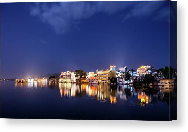 Tranquility Canvas Print featuring the photograph Pichola Lake Night View by Greenlin