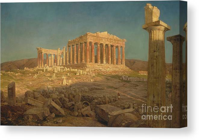 Oil Painting Canvas Print featuring the drawing The Parthenon by Heritage Images