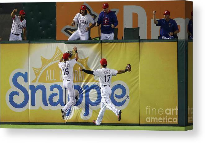 Ninth Inning Canvas Print featuring the photograph Drew Stubbs and Shin-soo Choo by Tom Pennington