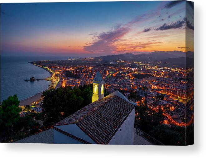 Blanes Canvas Print featuring the photograph Hermitage And Views Of Blanes At Sunset by Vicen Photography