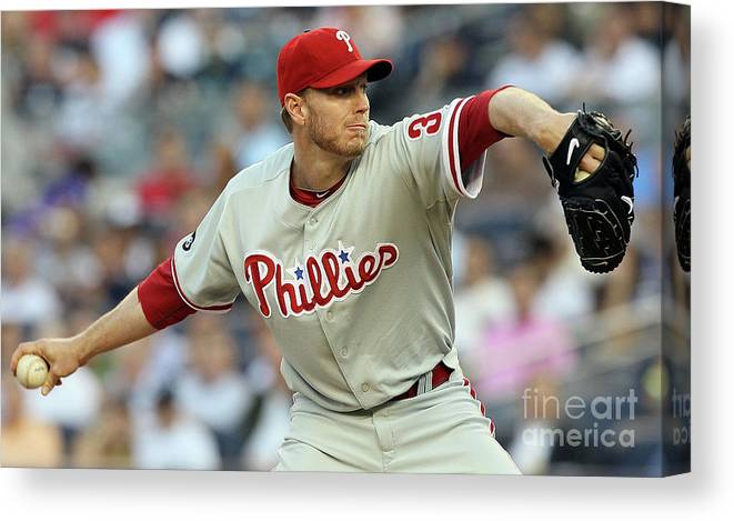 American League Baseball Canvas Print featuring the photograph Roy Halladay by Jim Mcisaac