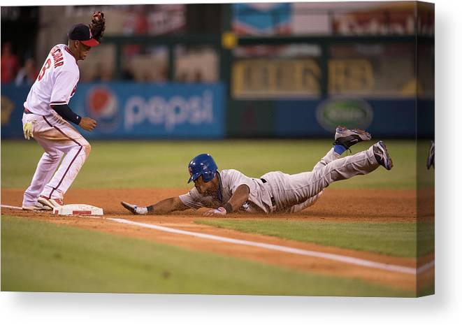 Adrian Beltre Canvas Print featuring the photograph Adrian Beltre And Yunel Escobar by Matt Brown