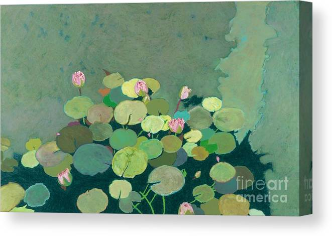 Landscape Canvas Print featuring the painting Bettys Serenity Pond by Allan P Friedlander