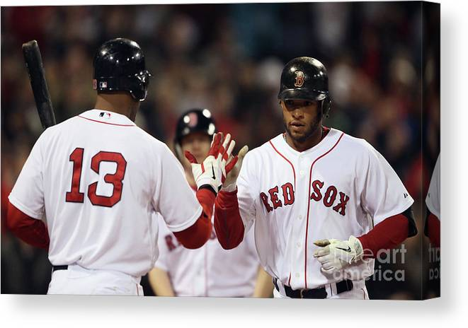 People Canvas Print featuring the photograph Carl Crawford and Darnell Mcdonald by Elsa