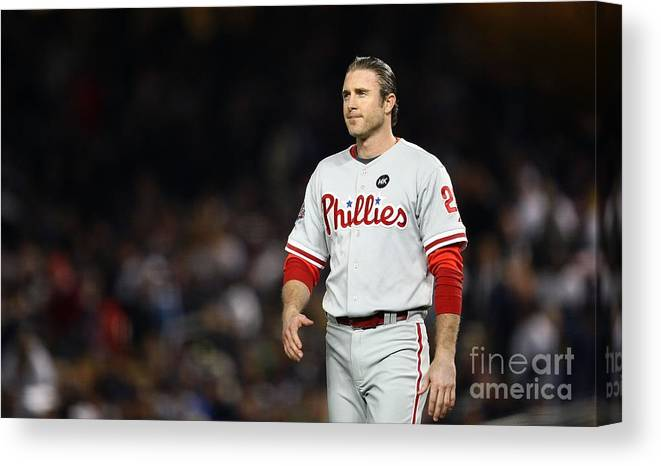 Game Two Canvas Print featuring the photograph Chase Utley by Chris Mcgrath