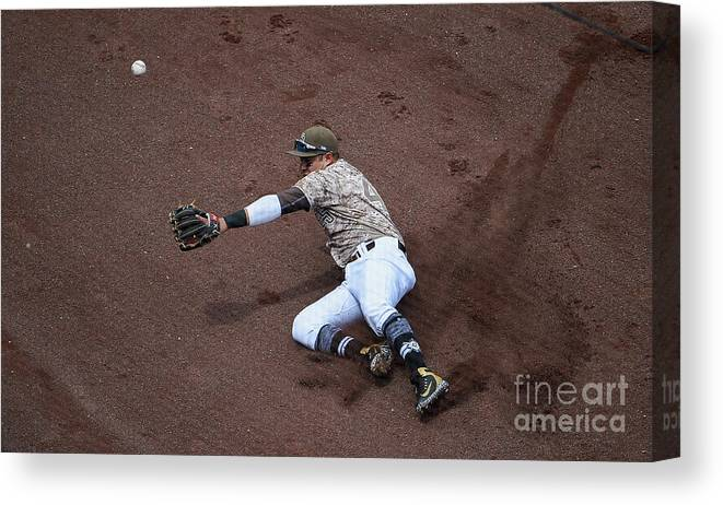 Second Inning Canvas Print featuring the photograph Christian Villanueva and Brandon Belt by Denis Poroy