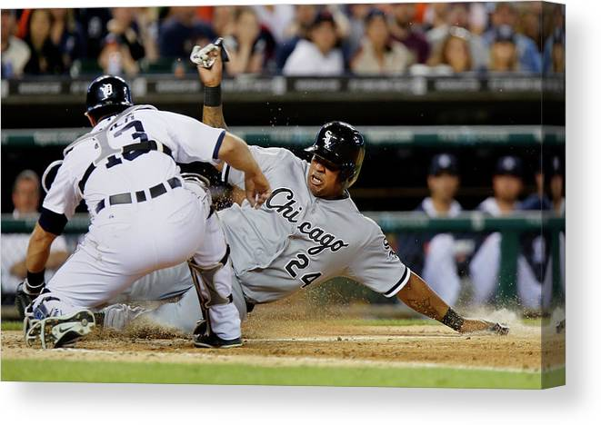 American League Baseball Canvas Print featuring the photograph Dayan Viciedo and Alex Avila by Duane Burleson