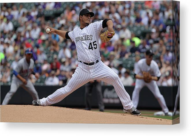 Defeat Canvas Print featuring the photograph Jhoulys Chacin by Doug Pensinger