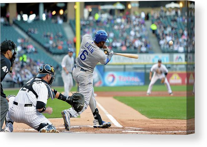 American League Baseball Canvas Print featuring the photograph Lorenzo Cain, Alex Gordon, and Billy Butler by Brian Kersey