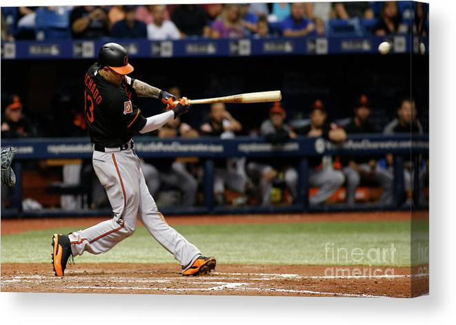 People Canvas Print featuring the photograph Manny Machado by Brian Blanco