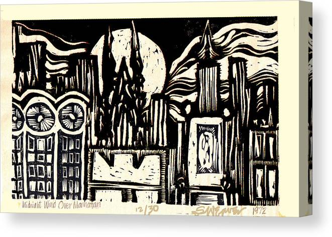 Bizarre Canvas Print featuring the mixed media Midnight Wind Over Manhattan by Seth Weaver
