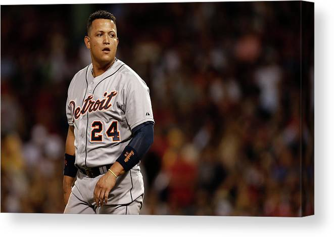 Second Inning Canvas Print featuring the photograph Miguel Cabrera by Winslow Townson