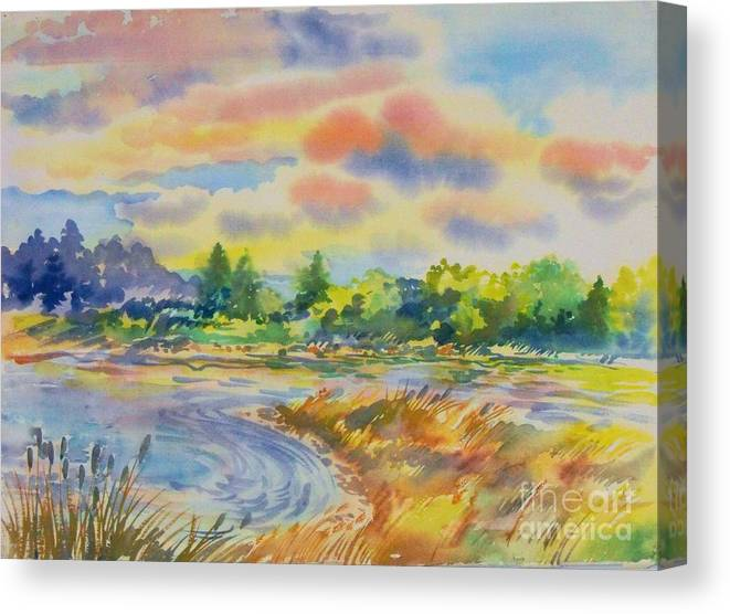 South Platte River Colorado Water Color Enhanced With Digital Editing For Color Canvas Print featuring the digital art South Platt water color by Annie Gibbons