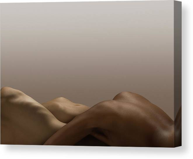 People Canvas Print featuring the photograph Abstract Nude Bodies, Different Skin by Jonathan Knowles