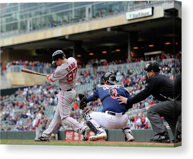 Ninth Inning Canvas Print featuring the photograph Boston Red Sox V Minnesota Twins by Hannah Foslien