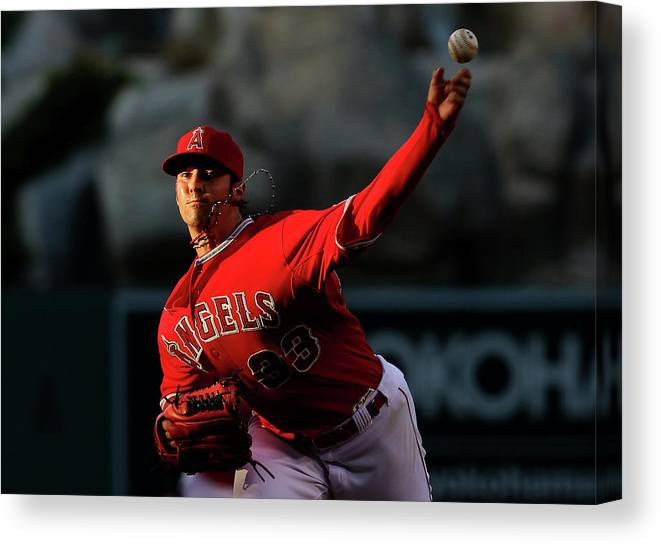 American League Baseball Canvas Print featuring the photograph Minnesota Twins V Los Angeles Angels Of by Stephen Dunn
