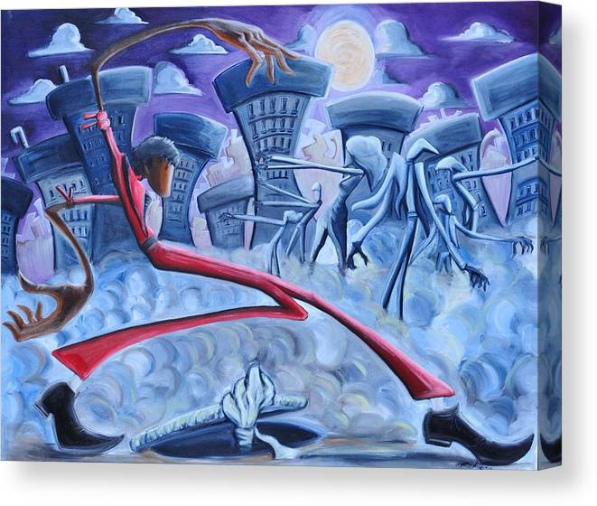 Thriller Canvas Print featuring the painting The Thriller by Tu-Kwon Thomas