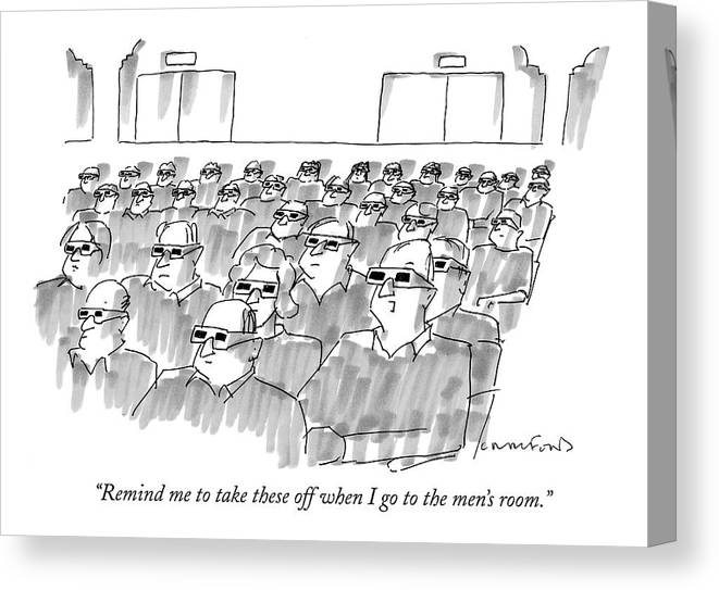 Senility Canvas Print featuring the drawing Remind Me To Take These Off When I Go by Michael Crawford