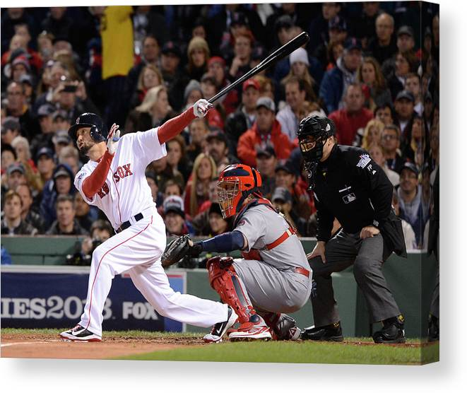 St. Louis Cardinals Canvas Print featuring the photograph 2013 World Series Game 2 St. Louis by Ron Vesely