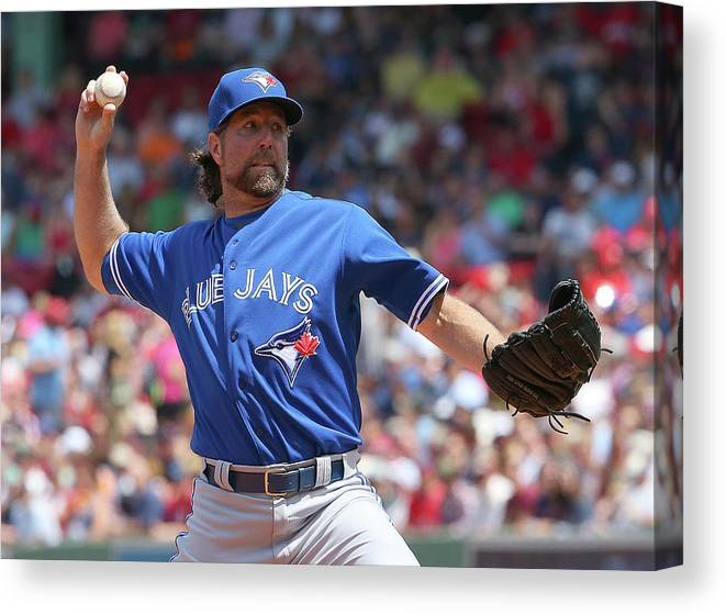 Three Quarter Length Canvas Print featuring the photograph Toronto Blue Jays V Boston Red Sox by Jim Rogash