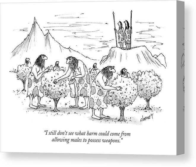 Stone Age Women Discussing Men Anger Spears Spear Weapon Canvas Print featuring the drawing I Still Don't See What Harm Could Come by Tom Cheney
