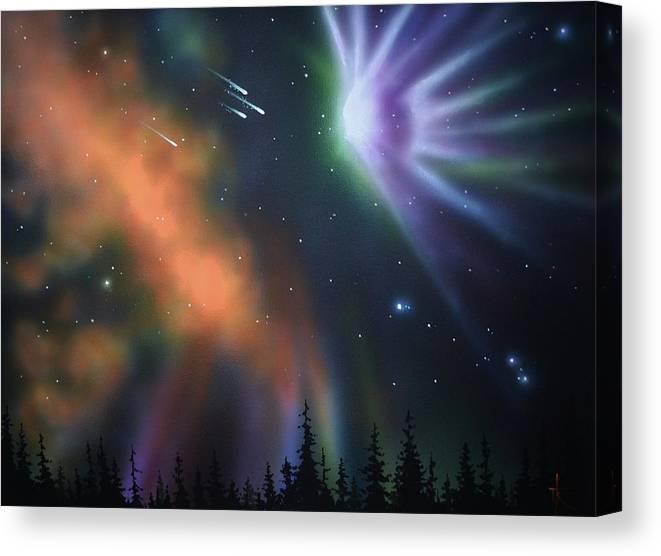Aurora Borealis Canvas Print featuring the painting Aurora Borealis with 4 shooting stars by Thomas Kolendra