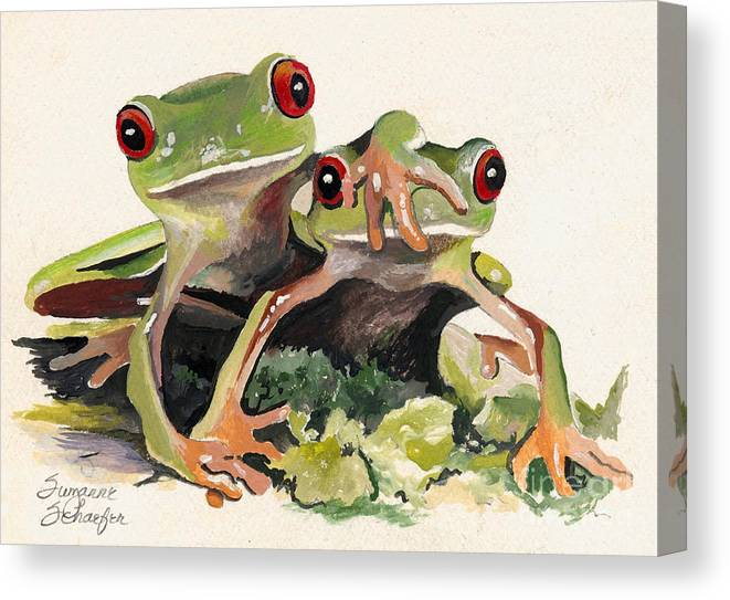 Frog Canvas Print featuring the painting BFF Froggies by Suzanne Schaefer