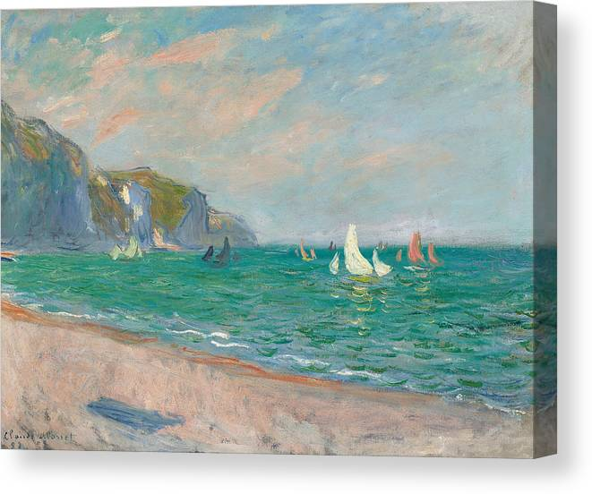 French Canvas Print featuring the painting Boats Below the Pourville Cliffs by Claude Monet