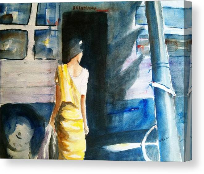 Woman Canvas Print featuring the painting Bus Stop - Woman Boarding The Bus by Carlin Blahnik CarlinArtWatercolor