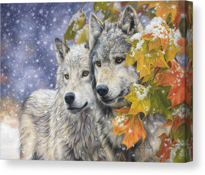 Wolf Canvas Print featuring the painting Early Snowfall by Lucie Bilodeau