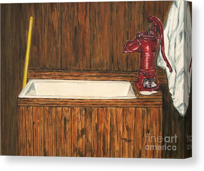 Farm Sink Canvas Print featuring the painting Farm Sink by Regan J Smith