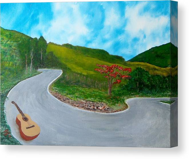 Guitar Canvas Print featuring the painting Guitar on the Road by Tony Rodriguez