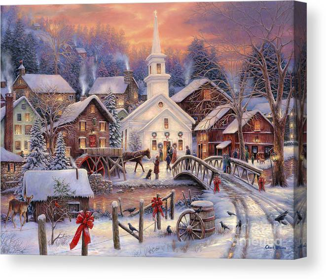 Snow Village Canvas Print featuring the painting Hope Runs Deep by Chuck Pinson