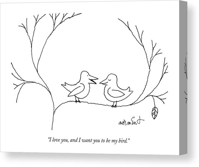 68322 Canvas Print featuring the drawing I Love You, And I Want You To Be My Bird by John Norment