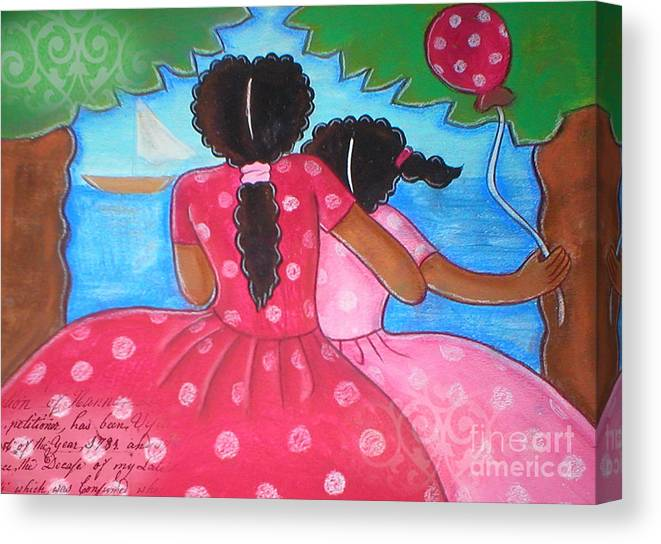 Woman Canvas Print featuring the mixed media in the park by the sea by Elaine Jackson by Elaine Jackson