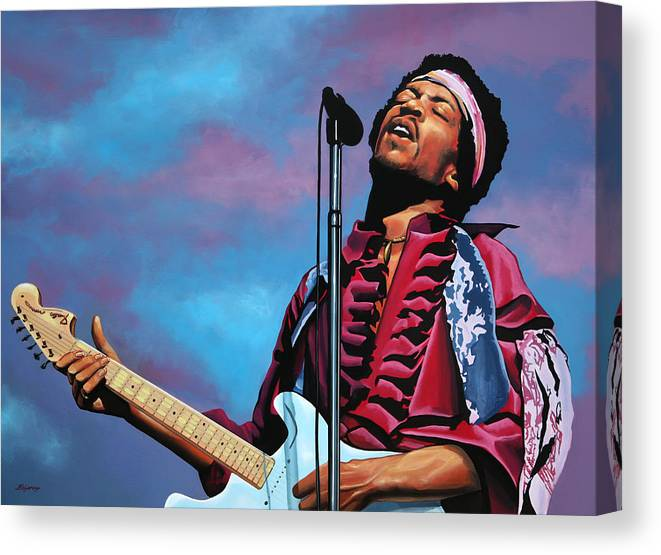 JIMI HENDRIX concert guitar cd painting CANVAS ART PRINT PRINT Mounted