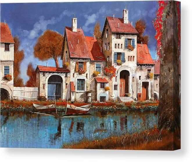Little Village Canvas Print featuring the painting La Cascina Sul Lago by Guido Borelli