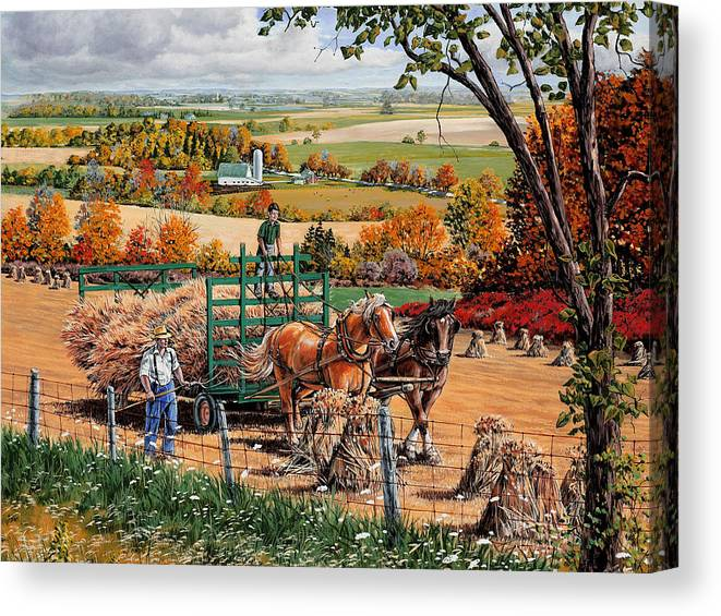 Harvest Canvas Print featuring the painting Late Harvest by Roger Witmer
