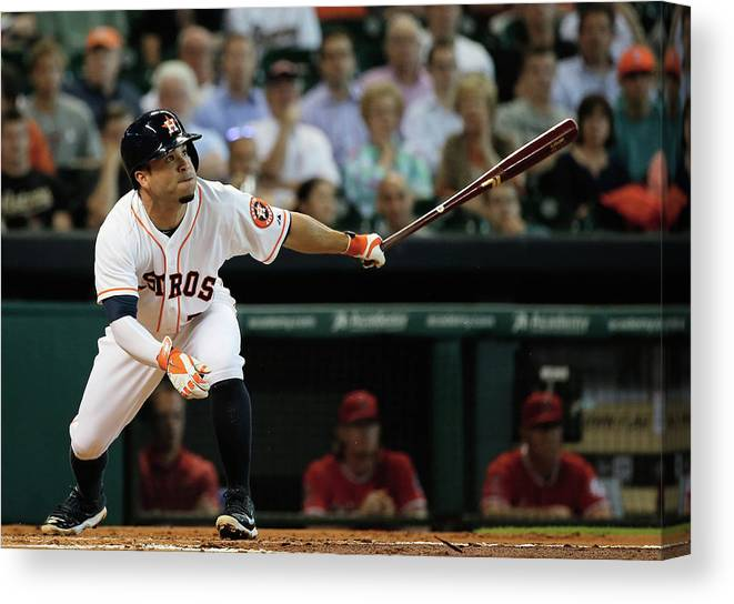 American League Baseball Canvas Print featuring the photograph Los Angeles Angels Of Anaheim V Houston by Scott Halleran